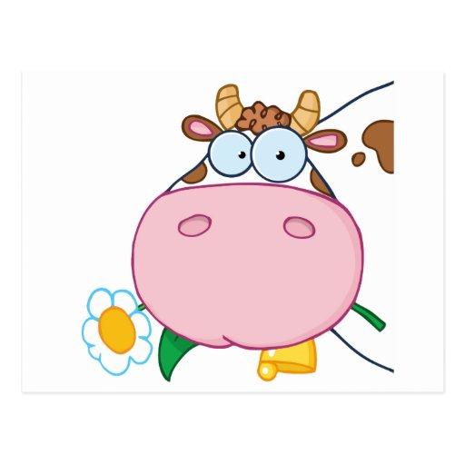 Personaje de dibujos animados principal de la vaca postal