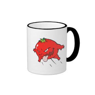 personaje de dibujos animados putrefacto enojado d taza a dos colores