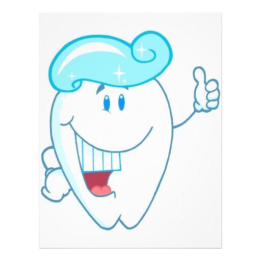 Personaje de dibujos animados sonriente del diente tarjetón