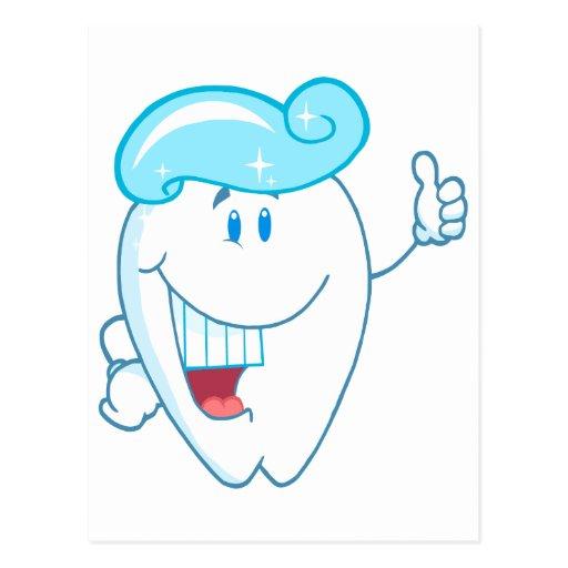 Personaje de dibujos animados sonriente del diente postales