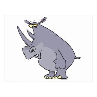 personaje de dibujos animados tonto lindo del rino tarjetas postales