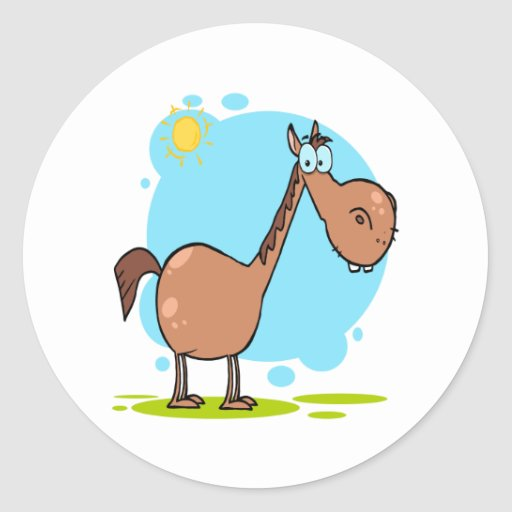 personaje de dibujos animados torpe del caballo etiquetas redondas