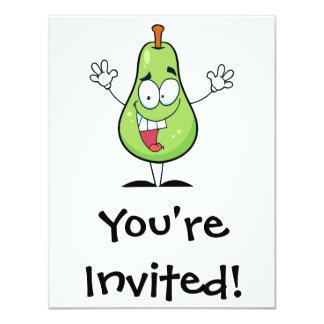 """personaje de dibujos animados verde feliz lindo de invitación 4.25"""" x 5.5"""""""