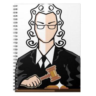 Personaje del vector del juez libreta espiral