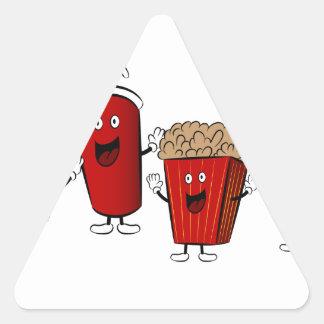 Personajes de dibujos animados de los alimentos de pegatina triangular