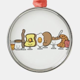 Personajes de dibujos animados del desayuno adorno redondo plateado