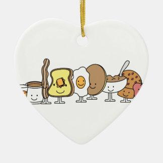 Personajes de dibujos animados del desayuno adorno de cerámica en forma de corazón