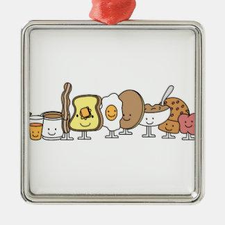 Personajes de dibujos animados del desayuno adorno cuadrado plateado