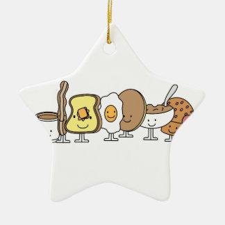 Personajes de dibujos animados del desayuno adorno de cerámica en forma de estrella