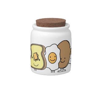 Personajes de dibujos animados del desayuno jarra para caramelo