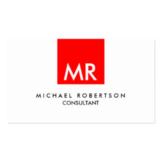 Personal Attractive Monogram Red Black White Double-Sided Standard Business Cards (Pack Of 100)