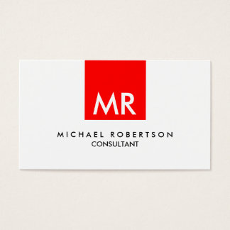 Personal Attractive Monogram Red Black White Business Card