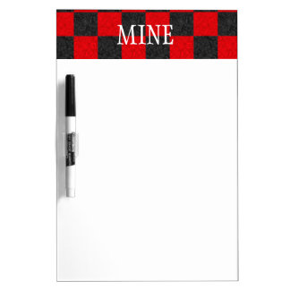Personal Black and Red Checkered Dry Erase Board