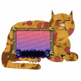 personal cat picture frame yellow standing photo sculpture