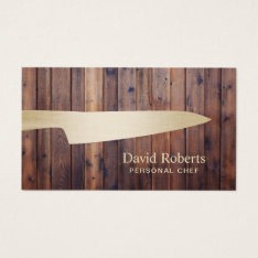 Personal Chef Catering Gold Knife Rustic Wood Business Card at Zazzle