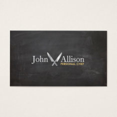 Personal Chef, Chef Knife, Catering Chalkboard Business Card at Zazzle