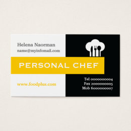Black spoon business cards templates zazzle personal chef minimalist black white yellow business card colourmoves