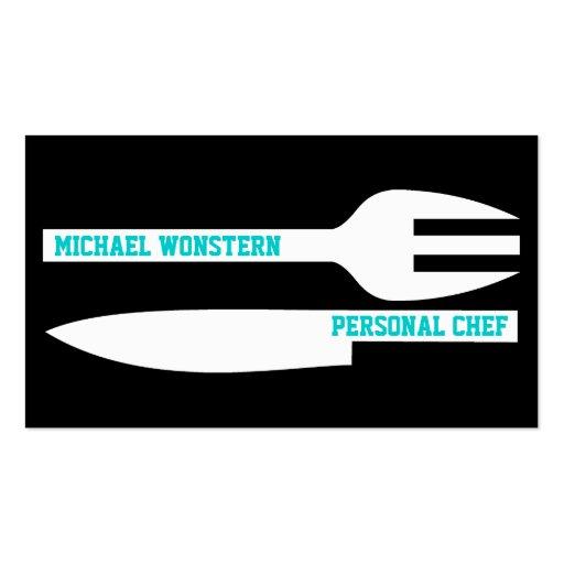 Chef Minimalist Business Card Black White