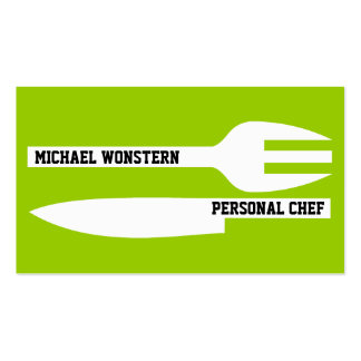 Personal chef minimalist lime green white business card templates
