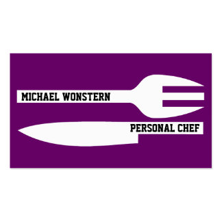 Personal chef minimalist purple white business card template