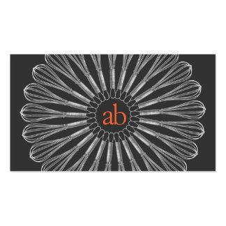 Personal Chef Monogrammed Whisk Logo Business Card Templates