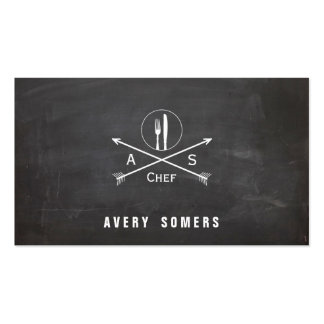 Personal Chef Retro Arrows and Cutlery Cool Black Double-Sided Standard Business Cards (Pack Of 100)