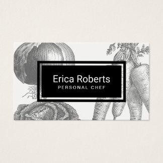 Personal Chef Vintage Vegetable illustration Business Card