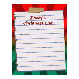 Personal Christmas List Letterhead Stationery