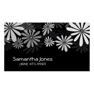Personal Contact Card - Black & White Flowers Double-Sided Standard Business Cards (Pack Of 100)