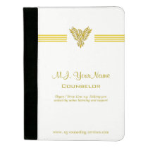 Personal Counselor luxury gold stripes and phoenix Padfolio
