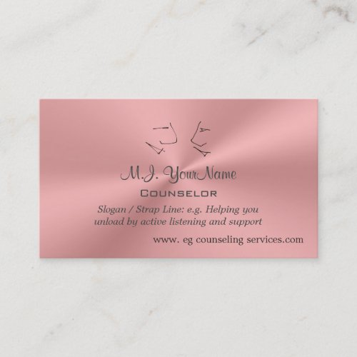 Personal Counselor luxury pink chrome-effect Business Card