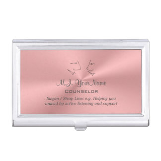 Personal Counselor luxury pink chrome-effect Business Card Holder