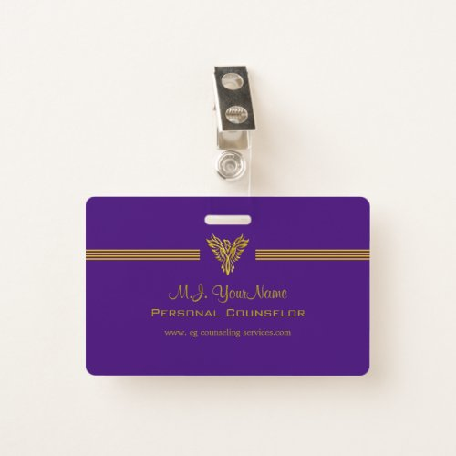 Personal Counselor luxury stripes and gold phoenix Badge