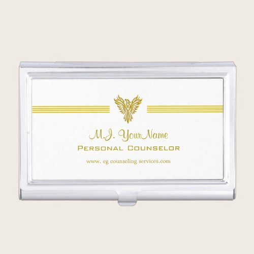 Personal Counselor luxury stripes and gold phoenix Business Card Holder