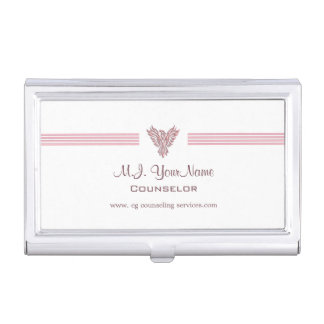 Personal Counselor luxury stripes and pink phoenix Business Card Holder