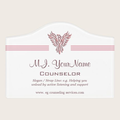 Personal Counselor luxury stripes and pink phoenix Door Sign