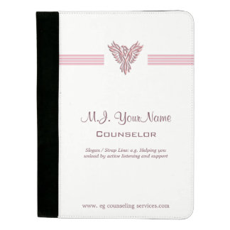 Personal Counselor luxury stripes and pink phoenix Padfolio