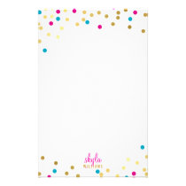 PERSONAL cute glamorous gold pink blue confetti Stationery