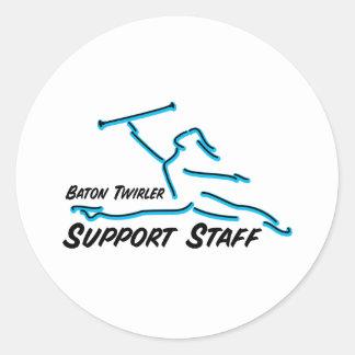 Personal de apoyo del Twirler de bastón Pegatina Redonda