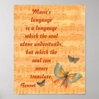 Personal de las notas musicales con las mariposas poster