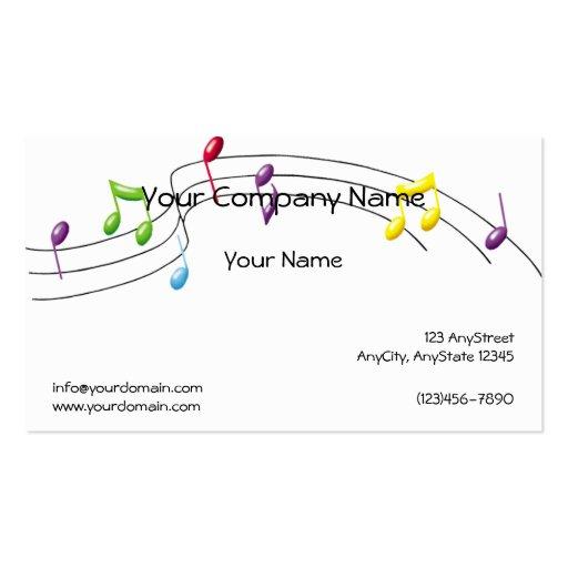 Personal del arco iris de la música en el fondo bl tarjetas de negocios