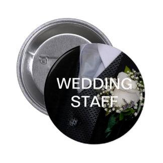 Personal del boda pin redondo de 2 pulgadas