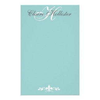 Personal femenino azul claro del monograma de papelería personalizada