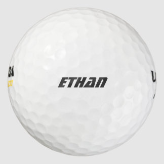Personal first name black text, cool font pack of golf balls