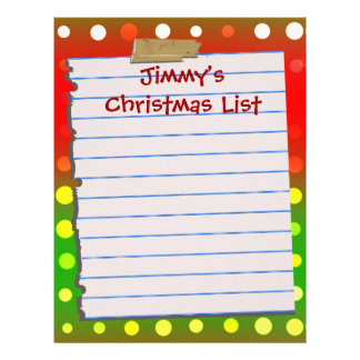 Personal Fun Christmas List Letterhead Stationery