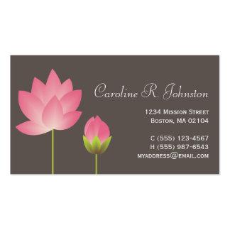 Personal gris moderno rosado de la flor de loto tarjetas de visita