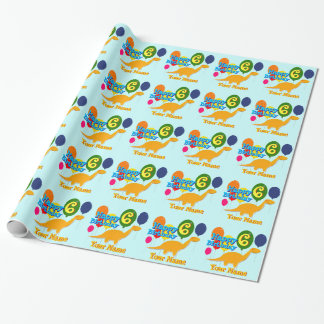 Personal Happy Birthday 6 Years Balloons Dinosaurs Wrapping Paper