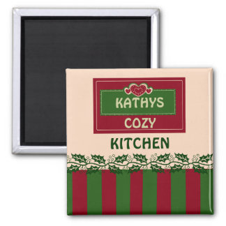 PERSONAL KITCHEN MAGNET,ADD YOUR NAME 2 INCH SQUARE MAGNET