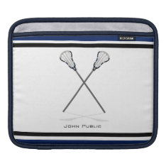 Personal Lacrosse Blue Black Ipad Sleeve at Zazzle
