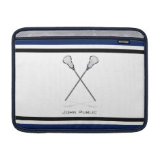 Personal Lacrosse Blue Black Macbook Air 13 Horiz Macbook Sleeve at Zazzle